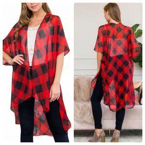 Kimono   Checkered Red and Black
